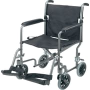 DMI® Ultra Lightweight Aluminum Transport Chair Titianium, Black Seat