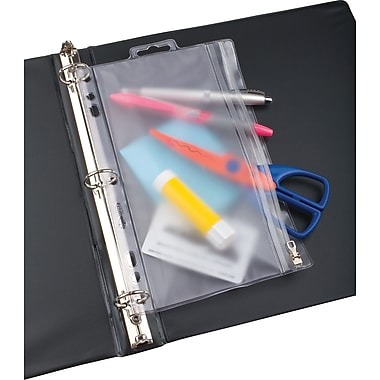 JM Zipper Ring Binder Pockets, 6 x 9 1/2