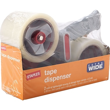 Staples® Lightweight Moving and Storage Packing Tape with Dispenser, 2.83in. x 54.6 yds, Clear, 2/Pack