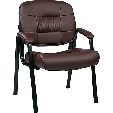 Office Star Deluxe Eco Leather Guest Chair, Burgundy