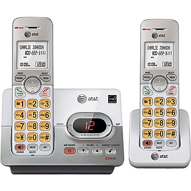 AT&T EL52203 DECT 6.0 Expandable Cordless Phone with Answering System and Caller ID/Call Waiting, Silver, 2 Handsets
