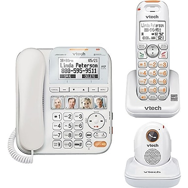 VTech CareLine SN6197 DECT 6.0 Expandable Corded/Cordless Phone with Answering System and Accessory Portable Pendant, White
