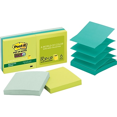 Post-it® Super Sticky 3in. x 3in. Tropical Pop-Up Notes, 6/Pack