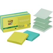 "Post-it® Recycled Super Sticky Pop-up Notes, 3"" x 3"", Bora Bora Collection, 10 Pads/Pack"