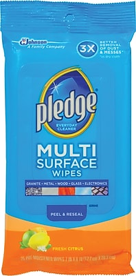 Pledge Multi Surface Clean Dust Wipes Fresh Citrus 25 Wipes Pack