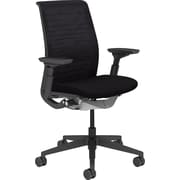 Steelcase Think, in Buzz2 Black, Black Base, Black Frame, Adjustable Arms, Standard Carpet Caster, Chair