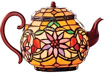 River of Goods 6.5' H Stained Glass Teapot Accent Lamp