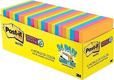 Post it Super Sticky Notes Cabinet Pack Rio De Janiero Colors 3 x 3 24 pack
