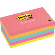 "Post-it® 3"" x 5"" Line-Ruled Cape Town Notes, 5 Pads/Pack"