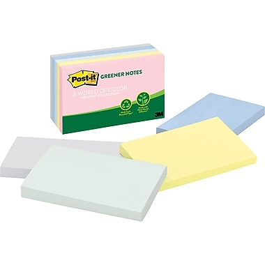 Post-it® 3in. x 5in. Recycled Helsinki Notes, 5 Pads/Pack