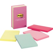 "Post-it® Notes, 4"" x 6"", Marseille Collection, Lined, 5 Pads/Pack (660-5PK-AST)"
