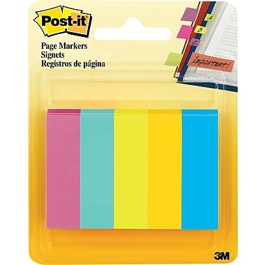 Post-it® 1/2in. x 2in. Fluorescent Page Markers, 500 Flags/Pack