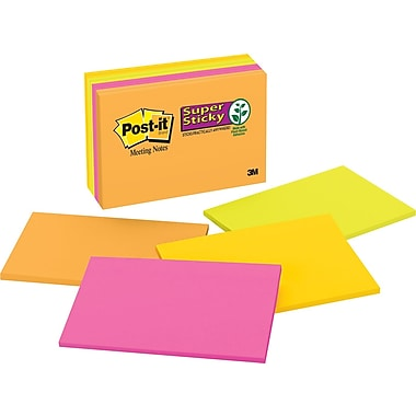 Post-it® Super Sticky 6in. x 4in. Assorted Jewel Pop Meeting Notes, 8 Pads/Pack