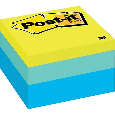 Post-it® 3in. x 3in. Blue Wave Designer Memo Cube, Each