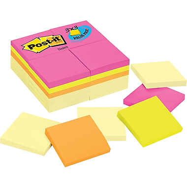 Post-it® 3in.x 3in. Assorted Color Office Pack Notes, 24 Pads/Pack