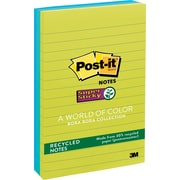 "Post-it® Super Sticky 4"" x 6"" Recycled Notes, 3/Pack"