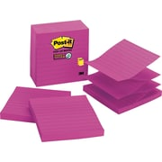 "Post-it® Super Sticky 4"" x 4"" Fireball Fuchsia Line-Ruled Pop-Up Notes, 5 Pads/Pack"