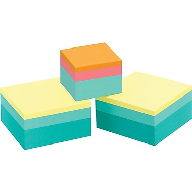 Post-it® 3in. x 3in. Brights Notes with Bonus 2in. x 2in. Cube, 2 Pads/Pack