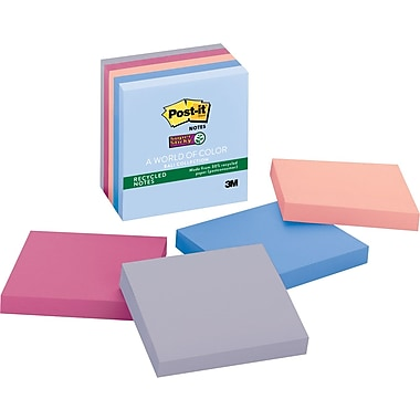 Post-it® Super Sticky 3in. x 3in. Recycled Bali Notes, 5 Pads/Pack