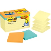 "Post-it® 3"" x 3"" Canary Yellow with Cape Town Pop-Up Notes Bonus Pack, 18 Pads/Pack"