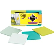 "Post-it® Super Sticky Full Adhesive, 3"" x 3"" Bora Bora Notes, 12 Pads/Pack"