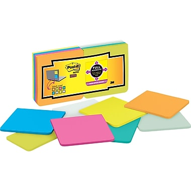 Post-it® Super Sticky Full Adhesive, 3in. x 3in. Assorted Notes, 16 Pads/Pack