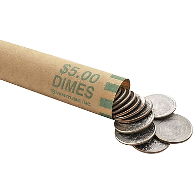 MMF Industries™ Nested Preformed Coin Wrappers, $5 Dimes, 6 1/8