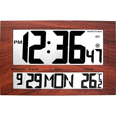 Marathon Jumbo Digital Atomic Wall Clock with Date and Temperature, Wood Grain