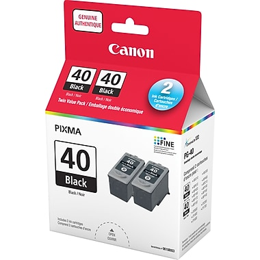 Canon® PG-40 Black Ink Cartridge, Twin Pack (0615B011)