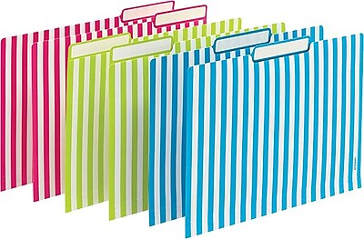 Poppin File Folders Verticle Stripes Set of 6 Lime Pink Pool