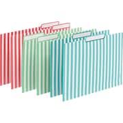 Poppin File Folders Verticle Stripes Set of 6 Aqua/Coral/Mint