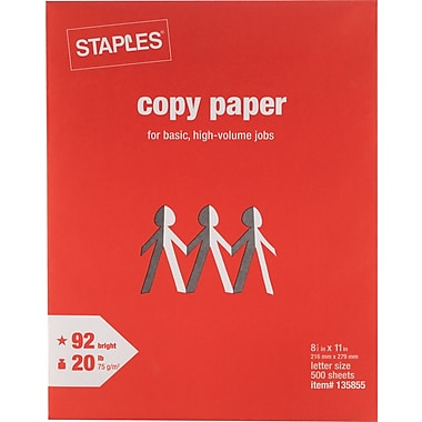 Staples copy paper 8 1 2 x 11 500 ream 135855 for Staples color printing cost per page