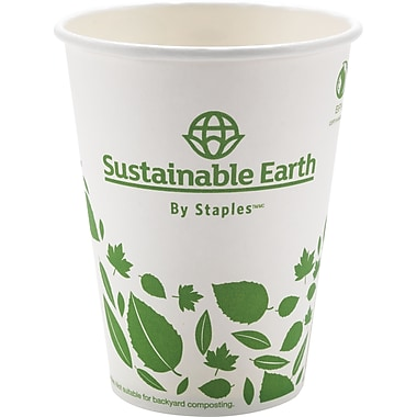 Staples Sustainable Earth 12oz Compostable Hot Cups, 500/Case (SEB40148-CC)