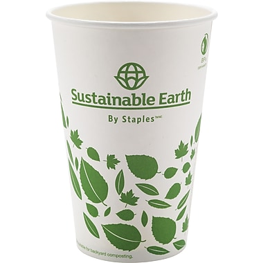 Staples Sustainable Earth 16oz White Compostable Hot Cups, 300/Case (SEB40147-CC)