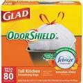 Glad OdorShield Tall Kitchen Drawstring Trash Bags, Hawaiian Aloha, White, 13 Gallon, 80 Bags/Box