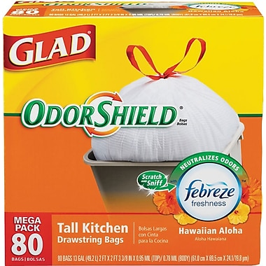 Staples - Glad OdorShield Tall Kitchen Drawstring Trash Bags - $9.99