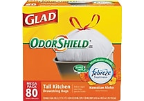 Glad® OdorShield® Tall Kitchen Drawstring Trash Bags, Hawaiian Aloha, White, 13 Gallon, 80 Bags/Box