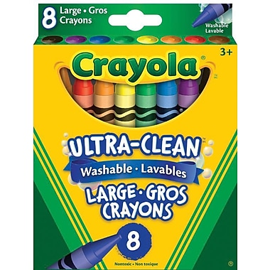 Crayola® Large Washable crayons, Assorted Colours, 8 per Box, 12/Pack