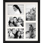 "Malden Home Profiles 5-Opening Wood Collage Picture Frame, Black, 4"" x 6"""