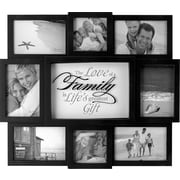 "Malden 8-Opening The Love of a Family Wood Wall Collage Picture Frame, Black, 4"" x 6"""
