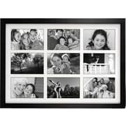 """Malden Classic Linear 9-Opening Wood Collage Picture Frame, Black, 4"""" x 6"""""""