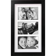"""Malden Classic Linear 3-Opening Wood Collage Picture Frame, Black, 4"""" x 6"""""""