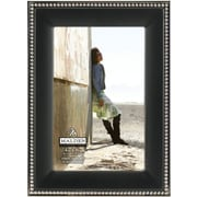 "Malden Classic Two Tone Beaded Metal Picture Frame, Black, 4"" x 6"""