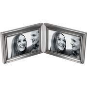 "Malden Concourse Split Double Metal Picture Frame, Pewter, 4"" x 6"""