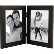 "Malden Classic Linear Split Double Wood Picture Frame, Black, 5"" x 7"""