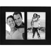 "Malden Classic Linear Split Double Wood Picture Frame, Black, 3.5"" x 5"""