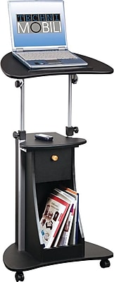 RTA Techni Mobili Adjustable Deluxe Rolling Laptop Cart, Black, 31H x 21 1\/2W x 15 1\/2D