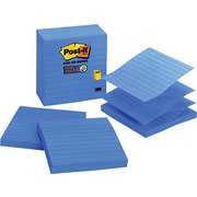 "Post-it® Super Sticky 4"" x 4"" Periwinkle Line-Ruled Pop-Up Notes, 5 Pads/Pack"