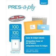 Avery ® PRES-a-ply ® 30605 White Address Label, 8 1/2(W) x 11(L), 100/Box