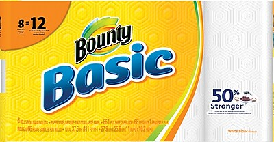 Bounty Basic Giant Roll Paper Towels 66 count 8 Rolls Pack 92966 84697